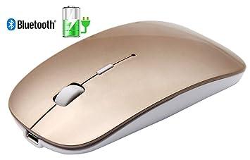 Tsmine Ultra Slim/pequeño ratón óptico inalámbrico para juegos para PC para ordenador portátil. Piano Lacquer Gold Rechargable Bluetooth Mouse: Amazon.es: ...