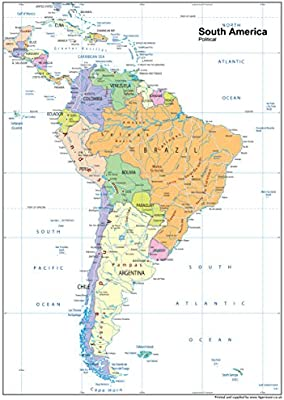 América del Sur político mapa – LAMINADO de papel, A1 Tamaño, 59,4 x 84,1 cm: Amazon.es: Oficina y papelería