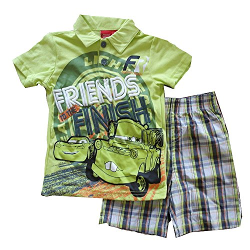 """Disney Pixar Toddler Boys' """"Friends to the Finish Cars 2 Piece Plaid Shorts Outfit (3T)"""