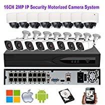 NightKing 16CH 1080P Motorized Lens 2MP POE IP Camera System, (8) IP Bullet Camera ,(8) IP Dome Camera,Motorized Auto Focus Lens 2.8~12mm,1Pcs 4TB HDD Pre-installed,Free App View