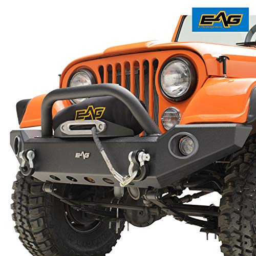 EAG Full Width Front Bumper with LED Lights and Light Frames Fit for 76-86 Jeep Wrangler CJ