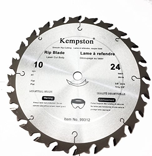 - Kempston 99312 10-Inch by 24 Tooth Industrial Rip Thick Kerf Blade with 5/8-Inch Arbor