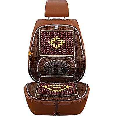 Wood Beaded Comfort Seat Cover with Cooling Ventilated Mesh Lumbar Back Brace Massage Support Cushion for Car Seat Chair: Health & Personal Care