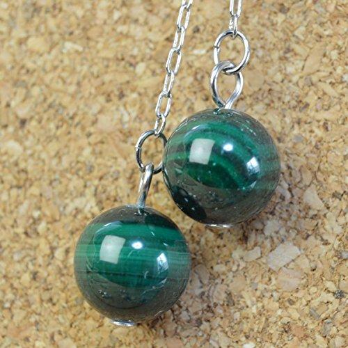 (Malachite Round Ball . American Pierced Earrings Gemstones . Silver Plating Hook )
