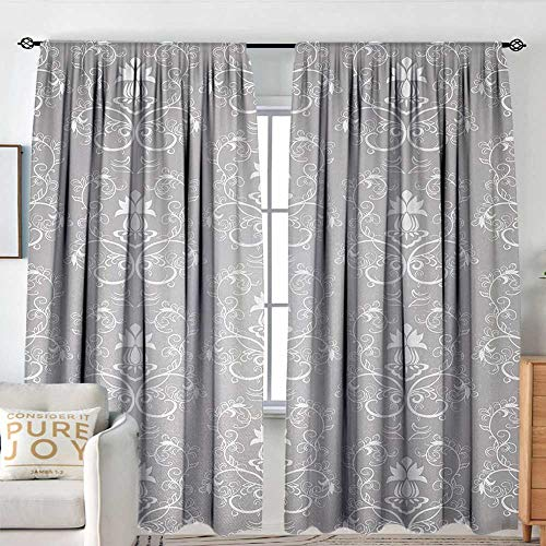 Blackou Curtains Silver,Damask Style Antique Floral Motifs Pattern Royal Victorian Design Vintage Leaves,Gray and White,Wide Blackout Curtains, Keep Warm Draperies,Set of 2 Panels 54