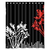 Twin Trees Print Shower Curtain Black and White and Red Inch 60X72 Inch