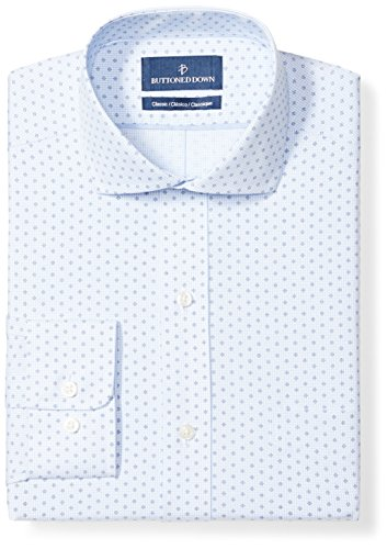 BUTTONED DOWN Men's Classic Fit Pattern, White/Blue Diamond Micro Check, 17.5