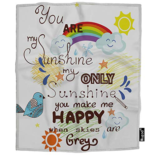 Mugod You are My Sunshine Throw Blanket Bird Rainbow Star Happy Romantic Creative Lettering Soft Cozy Fuzzy Warm Flannel Blankets Decorative for Baby Toddler Swaddle Dog Cat 30X40 Inch]()