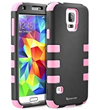 Galaxy S5 Case,Shockproof Heavy Duty Combo Hybrid Defender High Impact Body Rugged Hard PC & Silicone Case Protective Cover For Samsung Galaxy S5 (Pink)