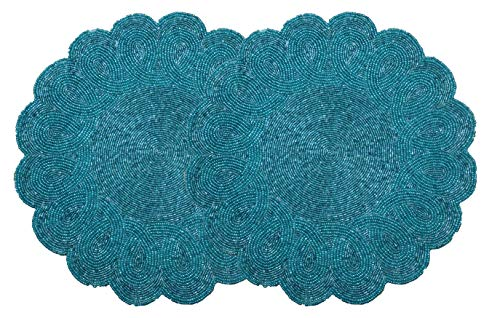 Light & Pro Beaded Placemat Set of 2 - Scalloped Round Hand Beaded Charger Placemat - Teal - 13 Inch Round - Hand Made by Skilled artisans - A Beautiful complement to Your Dinner Table décor (Round Placemats Teal)