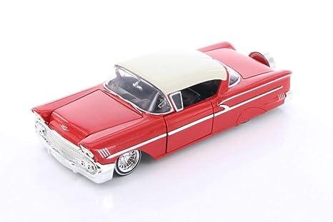 Chevrolet Impala 1958 rojo//blanco coche modelo 1:24//jada Toys
