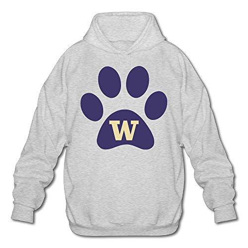 PHOEB Mens Sportswear Drawstring Hoodie Sweatshirt,University Of Washington Ash Medium