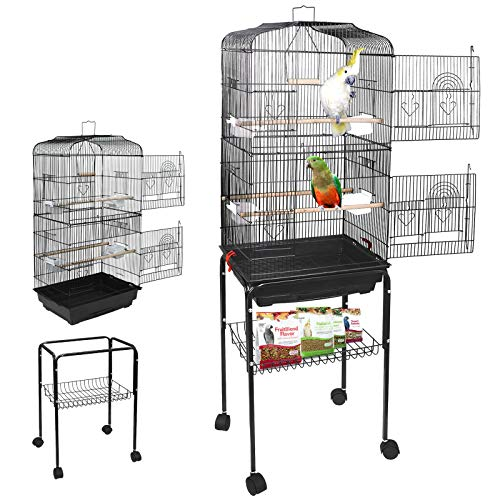 Nova Microdermabrasion 59.3'' Rolling Metal Bird Cage Medium Birdcage with Stand for Cockatiel Sun Conure Parakeet Finch Budgie Lovebird Canary Pet Bird Cage ()