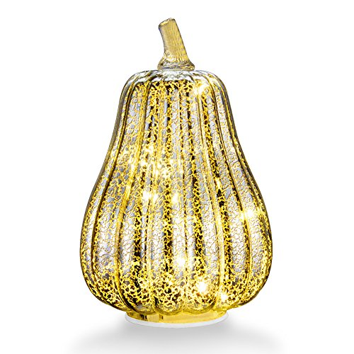 Mercury Glass Home Decor Pumpkin Light, XY Decor 8.7