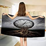 Chaneyhouse Clock,Baby Bath Towel,A Vintage Clock Breaking Free from a Tree Trunk A Surrealistic Symbol for Strategy Print,Print Wrap Towels,Grey Size: W 10'' x L 39.5''