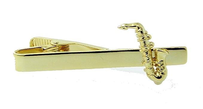 Pasador de corbata dorado, diseño de saxofón, 091: Amazon.es: Ropa ...