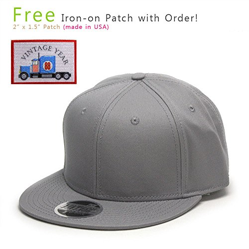 Big Bill Twill Work (VintageYear Premium Plain Cotton Twill Adjustable Flat Bill Snapback Hats Baseball Caps (Varied Colors) (Gray/Gray))