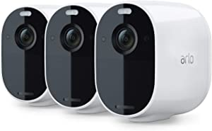 Arlo Essential Spotlight Camera| 3 Pack | Wire-Free, 1080p Video | Color Night Vision, 2-Way Audio, 6-Month Battery Life, Motion Activated, Direct to WiFi, No Hub Needed | Works with Alexa | White