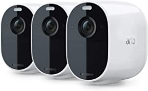 Arlo VMC2330 Essential Spotlight Camera  3 Pack   Wire-Free, 1080p Video   Color Night Vision, 2-way audio, 6-month battery, Motion Activated, Direct to WiFi, No Hub Needed   Works with Alexa   White