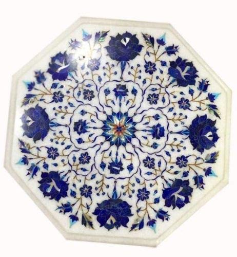 Khusboo Designs Marble Coffee Table Marquetry Mosaic Inlay Semi Precious Stones Sofa Side Tables