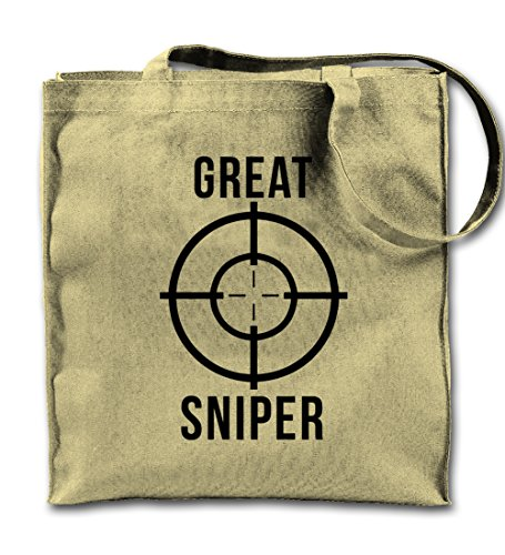 Great Sniper Gamer Target Cool Motivational Funny Natural Canvas Tote Bag, Cloth Shopping Shoulder Bag (Target Beach Bag)