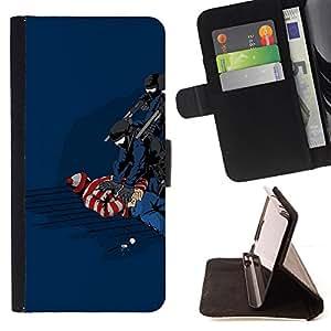 KingStore / Leather Etui en cuir / Samsung Galaxy S4 Mini i9190 / Funny Waldo Caught