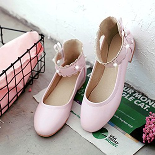 Womens Bowknot Round Ankle Pumps Toe Aisun Heels Low Shoes Beads Strap Dressy Cute With Pink dwtqwI1