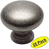 "Cosmas 4950WN Weathered Nickel Cabinet Hardware Round Mushroom Knob - 1-1/4"" Diameter, 25 Pack"