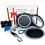 Retractable Dog Leash - Large Dog Leash Extra Long 26 ft Tape for Medium Large Breed 110 lb - Heavy Duty Retractable Leash Set with Bag Dispenser and Bowl - Best Durable Pet Training Leash Black