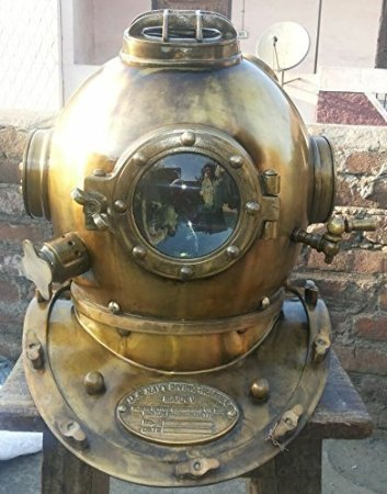 Antique Style Scuba Divers Helmet Collectible Design Brass Finish Us Navy ()