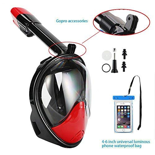 Full Face Free Breathing Design. Cell Phone Universal Waterproof Case Dry Bag Black//Red, Large//Extra Large 180/° Snorkel Mask View for Adults and Youth Free Bonuses and Anti-Fog Wipes