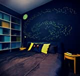 Glow in the Dark Star Decals: Pack of 530 3-D Doomed Stars Plus Moon- Create a Universe on your Ceiling, Make an Out of this World Playroom-Bedroom-Media Room, by Galactic Gear