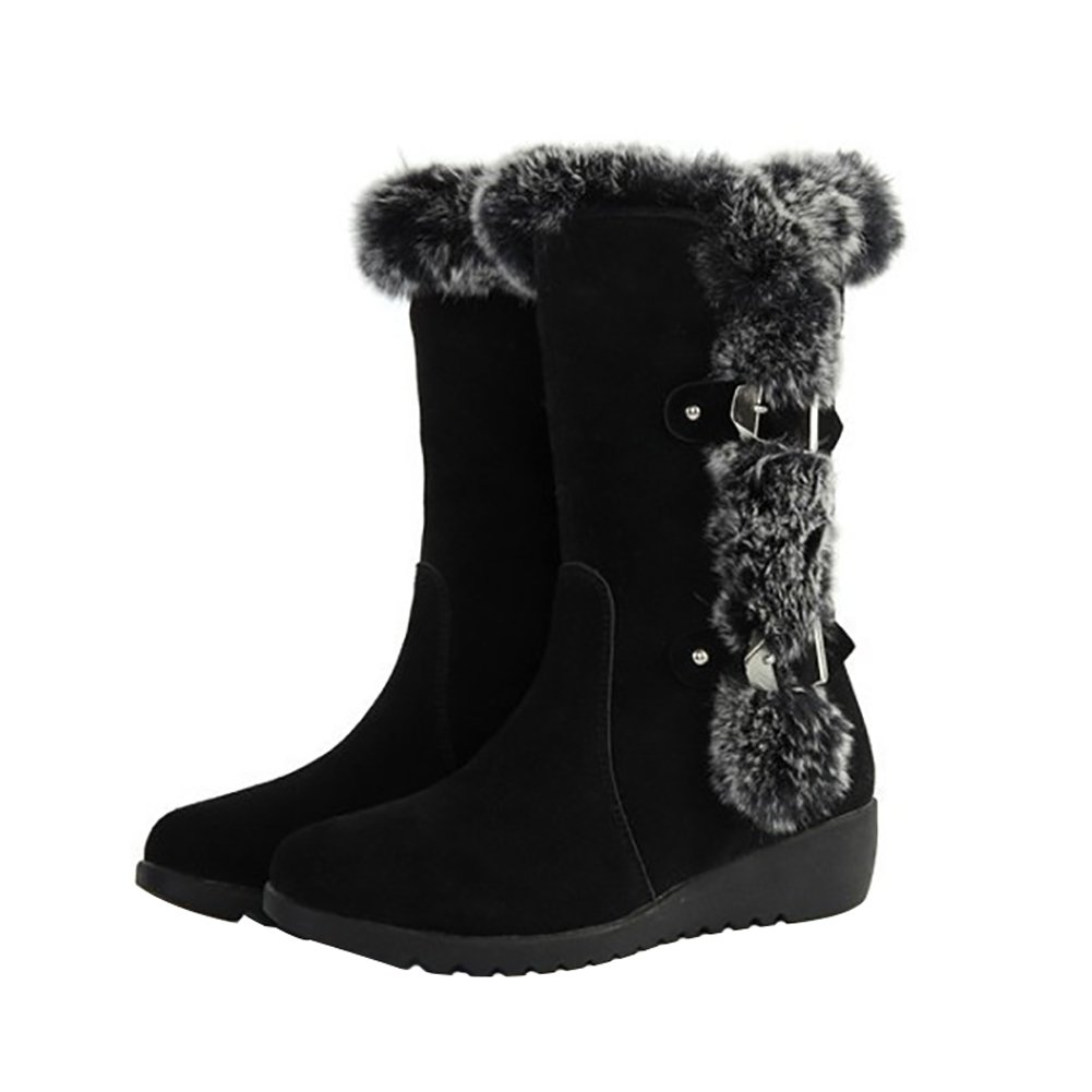 KARKEIN Waterproof Winter Snow Boots Rabbit Fur Lined Belt Buckle Mid Calf Boots for Women