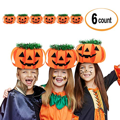 Slumber Party Costume For Halloween (Halloween Pumpkin Hats Making Activity Kit, 6-Pack. Funny Props Orange Jack-O-Lantern as Party Craft Supplies for kids. Great as Decoration/Prop/Costume for Boys and Girls on Thanksgiving and New)