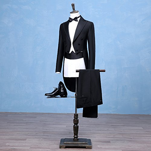 Botong Tailcoat Wedding Suit for Men Black Jacket Tuxedos 3 Pieces ...