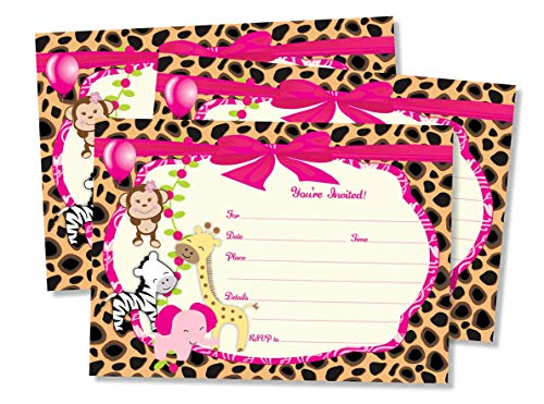 50 Girl Pink Jungle Invitations and Envelopes (Large Size 5x7) - Baby Shower - Birthday Party - Any -