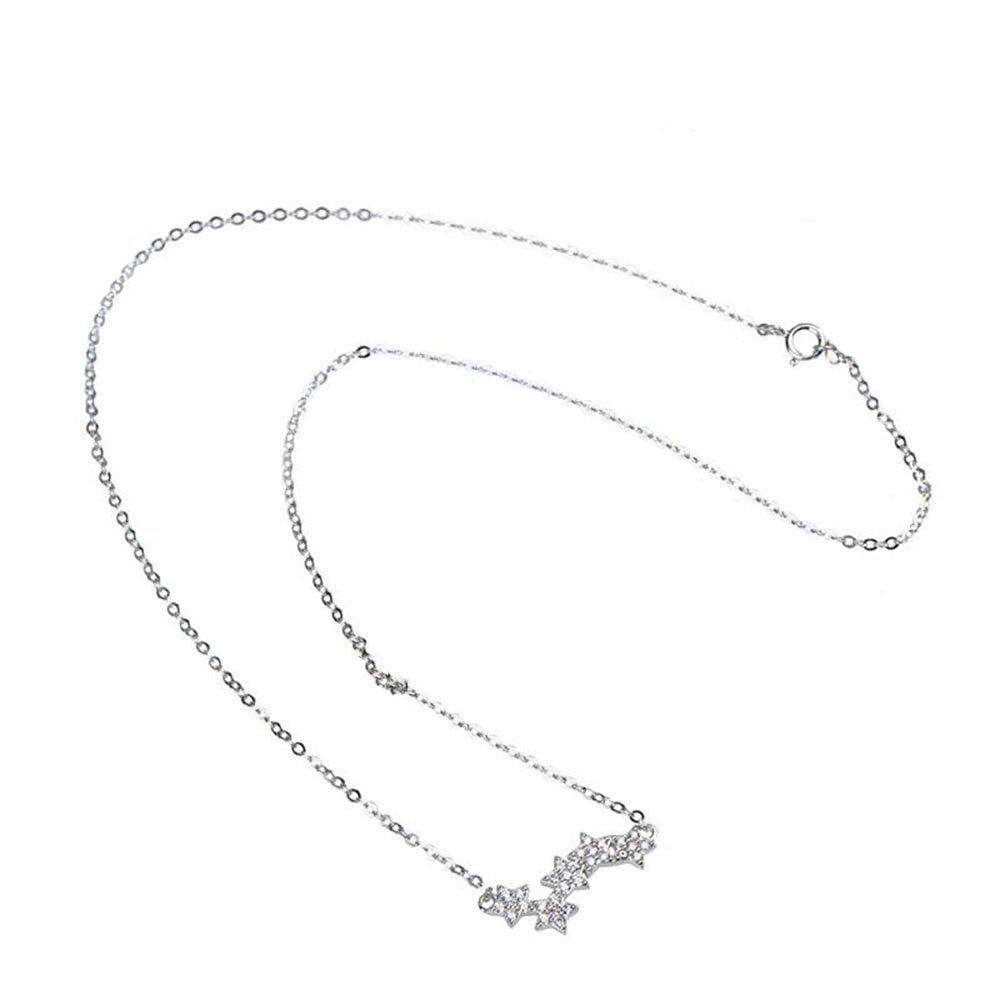 Dividiamonds 18k White Gold Plated Cubic Zirconia Three Stars Slide Pendant Necklace for Women /& Girls