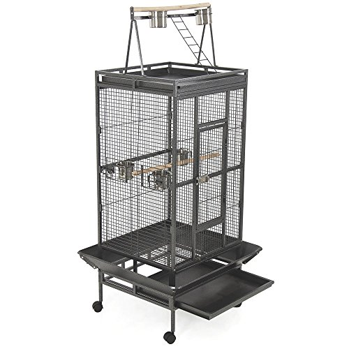 Bird Cage Large Play Top Bird Parrot Finch Cage Macaw Cockatoo Pet Supplies - Australia Blk
