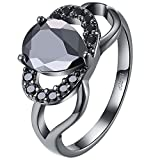 AWLY Jewelry Women 18k Black Gold Pear Cut Black Crystal Ring Infinity Knot Heart Anniversary Wedding Band