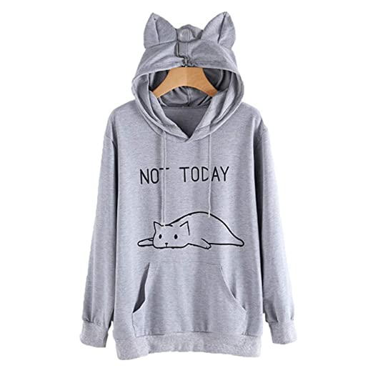 20dfb7cf Heartell Women Students Not Today Cat Hoodie Cute Ear Long Sleeve Pockets  Loose Casual Sweashirt Pollover