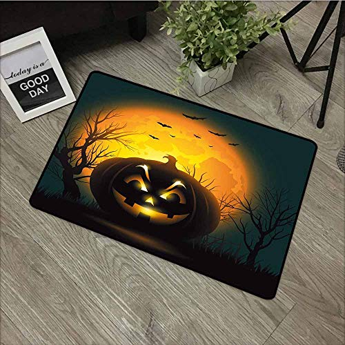 LOVEEO Bedroom Doormat,Halloween Fierce Character Evil Face Ominous Aggressive Pumpkin Full Moon Bats,Super Absorbs Mud,16