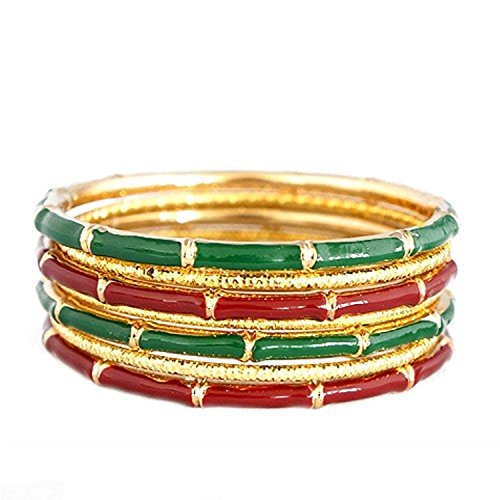 (Jewelry11® Women's Fashion Red & Green Mixed Enamel Bamboo Design w/ Gold Textured Bangles, Set Of 7Pcs Gift For Her)