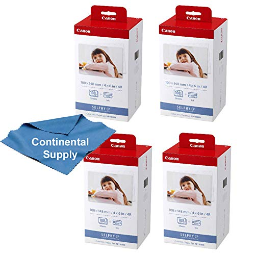 (4 Boxes Canon KP-108IN 3 Color Ink and 108 Sheets 4 x 6 Paper Glossy for SELPHY CP1300, CP1200, Compact Photo Printer)