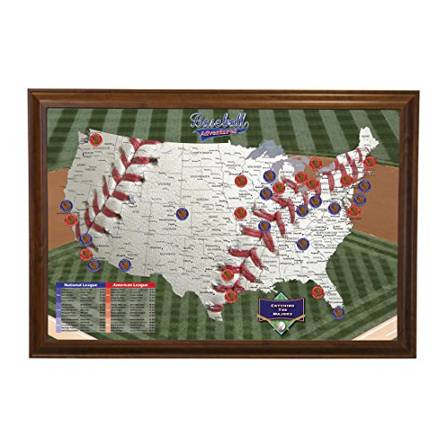 Push Pin Travel Maps Baseball Adventures with Brown Frame...