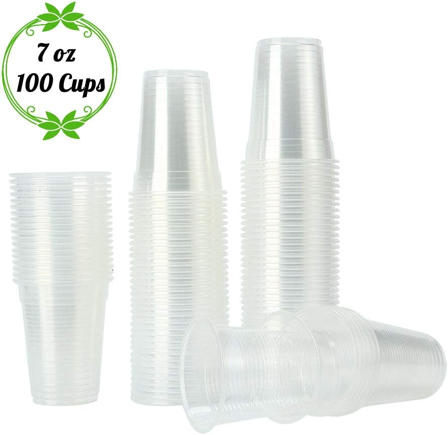 TashiLiving [ 7oz - 100 Cups ] Clear Plastic Coffee Cups, Disposable Transparent hot and Cold drink Cups for Water, Tea, Juice, Soda, Kids Cups - BPA-Free