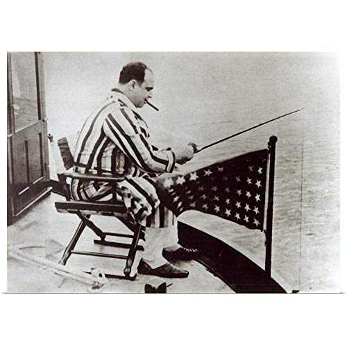 """GREATBIGCANVAS Poster Print Entitled Al Capone (1899-1947) Fishing on his Yacht by 36""""x26"""""""