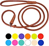 CollarDirect Rolled Leather Dog Leash 6ft or 4ft, Heavy Duty Slip Lead, Slip Leashes for Small Medium Large Dogs, Round Puppy Leash Female Male Pink Black Brown Red (L 6ft, Brown)