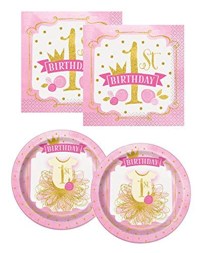 Pink and Gold Girls 1st Birthday Dinner Plates, 16ct with Pink and Gold Girls 1st Birthday Beverage Napkins, 32ct