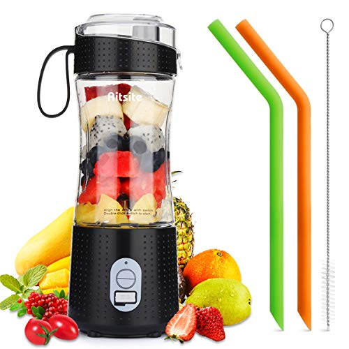 Aitsite Portable Blender, Personal Mixer Fruit Rechargeable USB with 2 Straws, Mini Blender for Smoothie, Fruit Juice…