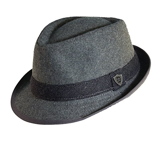 [Dorfman Pacific Mens Wool Blend Fedora Hat with Herringbone Band, Medium, Grey] (Fedora Gangster Hat)